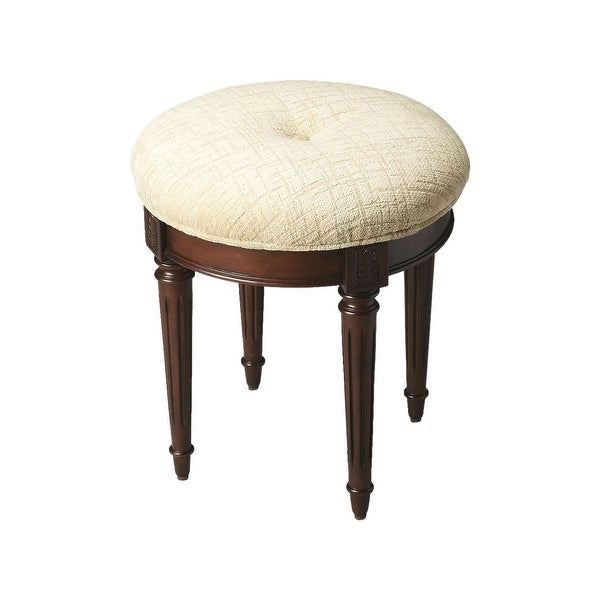 """Offex 18.75""""H Transitional Wooden Round Vanity Stool in Plantation Cherry Finish - Dark Brown"""