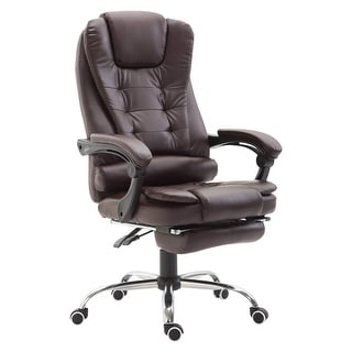 Link to HomCom Reclining PU Leather Executive Home Office Chair with Comfortable Faux Leather &  Extendable Footrest, Brown Similar Items in Office & Conference Room Chairs