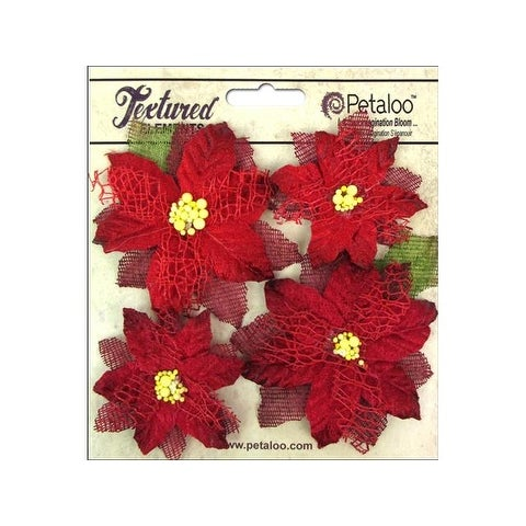 Petaloo Textured Elements Poinsettias Red