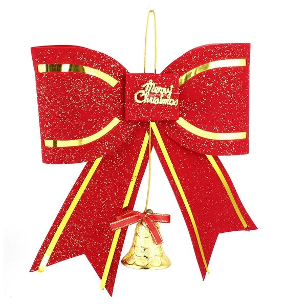 Merry Christmas Glittery Powder Xmas Tree Bowknot Decoration Red 24cm Length