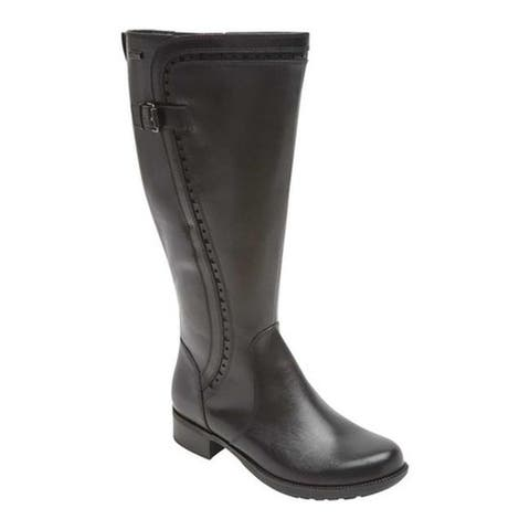 Rockport Women's Copley Tall Wide Calf Leather Boot Black Leather