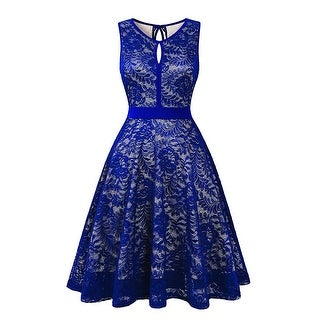 BBX Lephsnt Women's Vintage Floral Lace Sleeveless Party, Royal Blue, Size Small