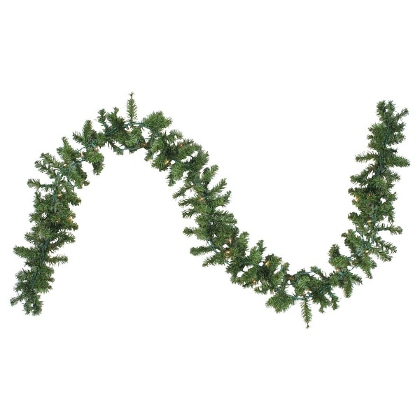 "9' x 8"" Pre-Lit Canadian Pine Artificial Christmas Garland - Clear Lights - green"