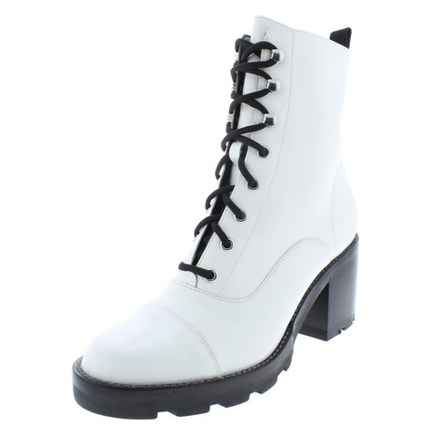 Marc Fisher Womens Wanya Combat Boots Patent Leather Ankle