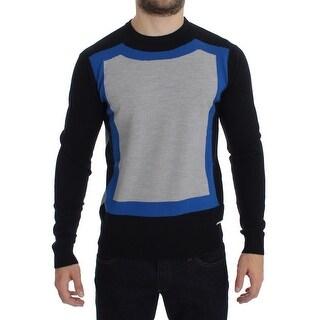 Galliano Gray Black Blue Wool Blend Crewneck Sweater