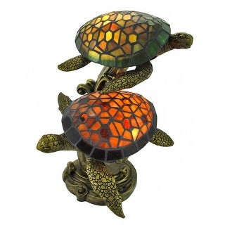 Stained Glass Swimming Sea Turtles Lamp Amber and Green Glass