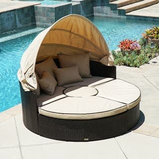 Belleze 5 Piece Outdoor Daybed Sectional Set Round Retractable Canopy Rattan Wicker Furniture Sofa W