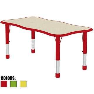 2xhome - Red - Modern Kids Table - Height Adjustable Wavy Rectangle
