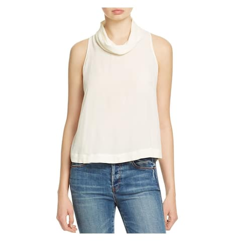 FREE PEOPLE Womens Ivory Sleeveless Cowl Neck Top Size: L