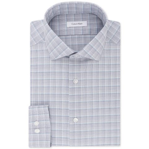 "Calvin Klein Mens Steel Button Up Dress Shirt, grey, 17"" Neck 32""-33"" Sleeve - 17"" Neck 32""-33"" Sleeve"
