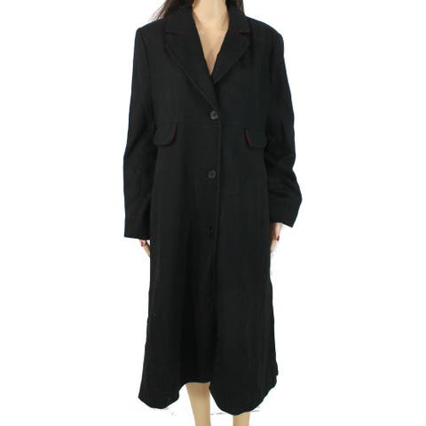 Jones York Women's Coat Midnight Black Size 12 Contrast Red Trim