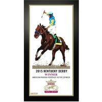 2015 Horse Racing Triple Crown Kentucky Derby Commemorative Artwork 10x20 Framed Photo