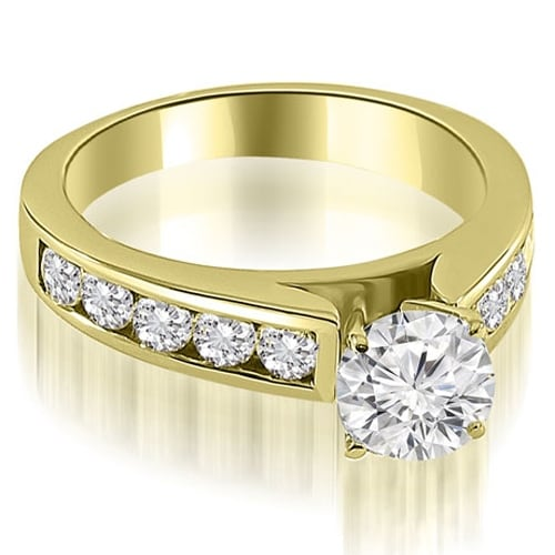 2.00 cttw. 14K Yellow Gold Cathedral Channel Round Cut Diamond Engagement Ring
