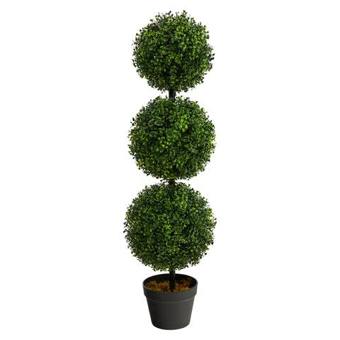 "3' Boxwood Triple Ball Artificial Topiary UV - 6"""