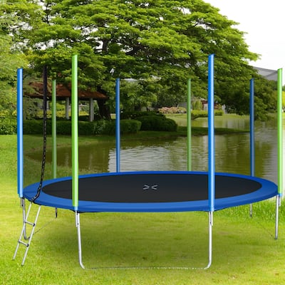 TiramisuBest 12FT Trampoline for Kids with Enclosure Net&Ladder