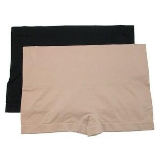 Rene Rofe Women's Tummy Control Boyshort Underwear (Pack of 2) - Black/Natural