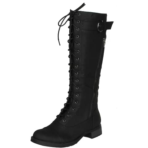 d92450478741 Refresh Cici Women's Lace Up Tall Combat Boots With Distressed Pu Upper And  ...