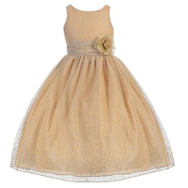 eec887d332 Girls Gold Organza Glitter Junior Bridesmaid Dress 8-12