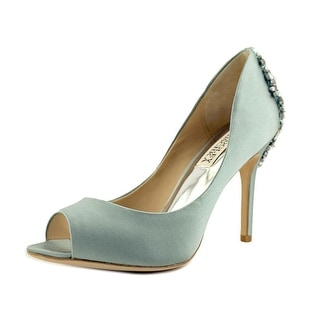 Badgley Mischka Nilla Peep-Toe Canvas Heels