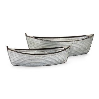 IMAX Home 60284-2  Two Piece Iron Boat Planter Set - Silver