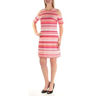 Womens Pink Orange Short Sleeve Above The Knee Sheath Wear To Work Dress Size: 10