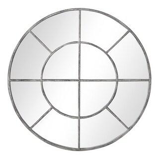 """Delacora UM-W00439  34"""" Diameter Farmhouse Style Window Pane Wall Mirror - Gray"""