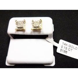 Solid 14K Yellow Gold Micro-Pave Kite Earrings Genuine Diamond