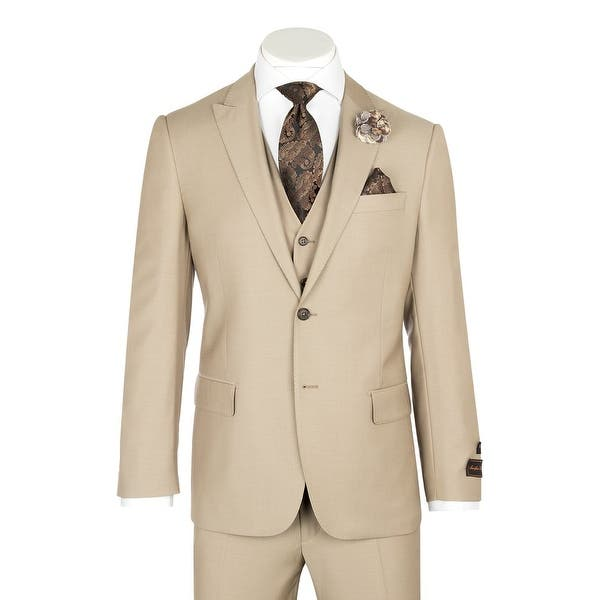 3612117e2053 Shop Tufo, Modern Fit, Tan, Pure Wool Suit & Vest by Tiglio Luxe ...