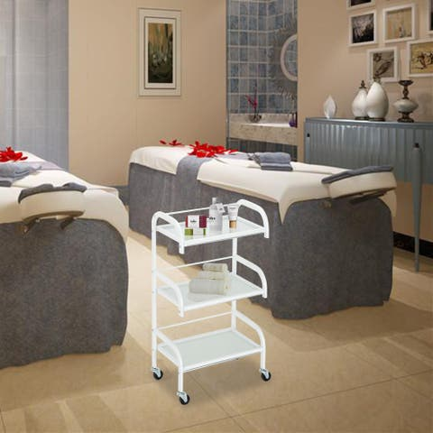 Three-Layer Beauty Tool Cart With Glass White