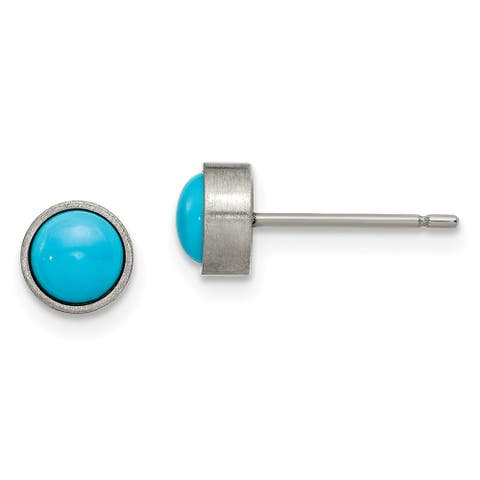 Chisel Titanium Brushed with Blue Turquoise 6mm Stud Earrings