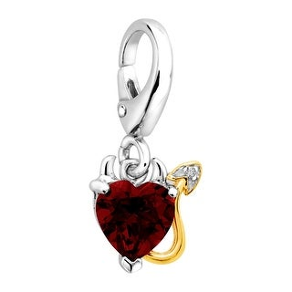 1 1/2 ct Natural Red Mystic Topaz Devil Heart Charm with Diamond in Sterling Silver & 14K Gold