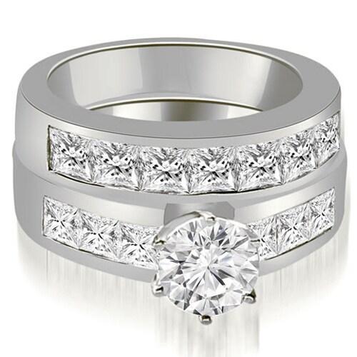2.90 cttw. 14K White Gold Channel Set Princess Cut Diamond Bridal Set