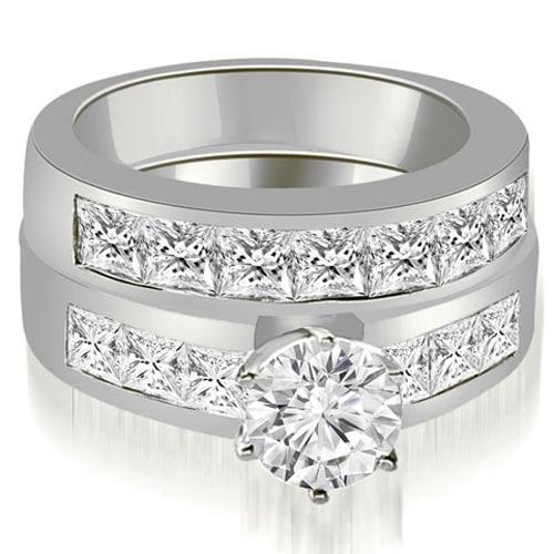 3.15 cttw. 14K White Gold Channel Set Princess Cut Diamond Bridal Set