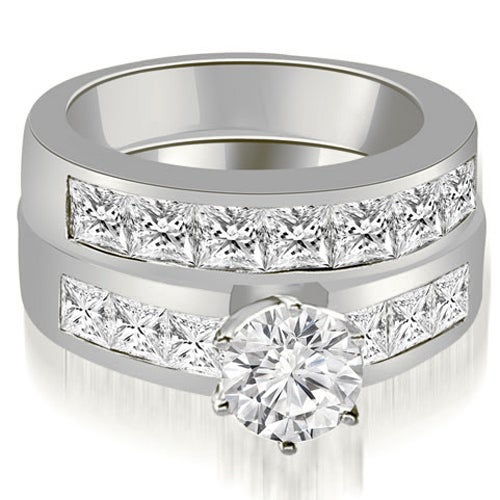 3.40 cttw. 14K White Gold Channel Set Princess Cut Diamond Bridal Set