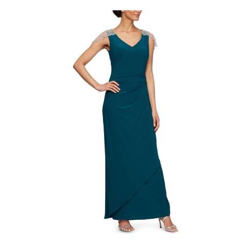 ALEX EVENINGS Teal Sleeveless Full-Length Sheath Dress Size 12