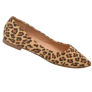 Weeboo Adult Tan Leopard Pattern Pointed Toe Slip-On Trendy Flats