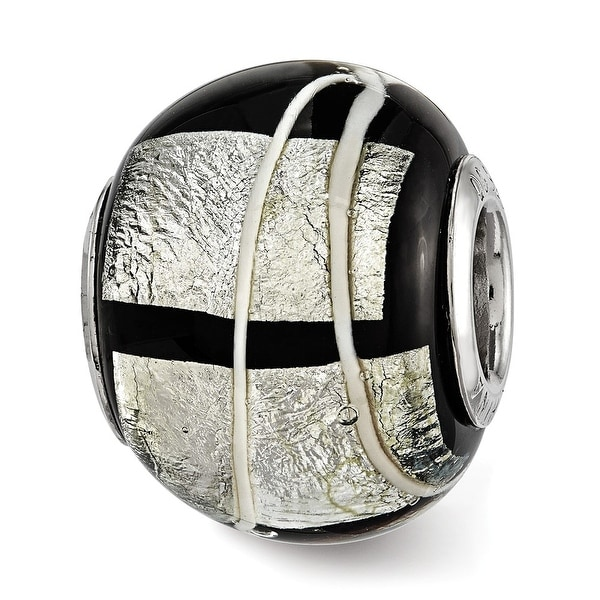 Sterling Silver Reflections Foil White Striped Black Glass Bead (4.5mm Diameter Hole)