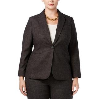 Calvin Klein Womens Plus Blazer Plaid Long Sleeves