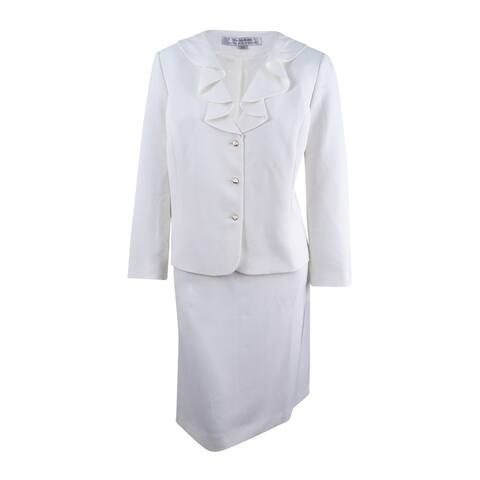 Tahari ASL Women's Plus Size Ruffled Skirt Suit - Ivory White