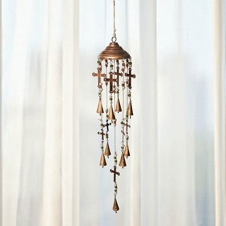 """Bells, Beads, and Crosses Wind Chime - Copper Crown - Hangs 38"""""""