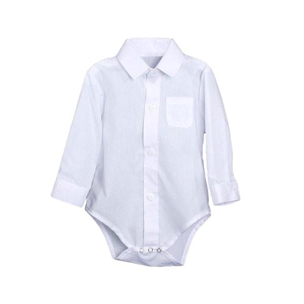 Baby Boys White Poly Cotton Button Up Dress Shirt Bodysuit