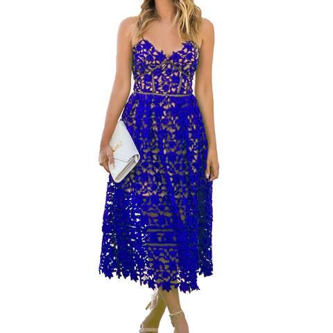AlvaQ Womens Summer Sexy V Neck Lace Hollow Beach Evening Wedding Midi Dress ... - Small