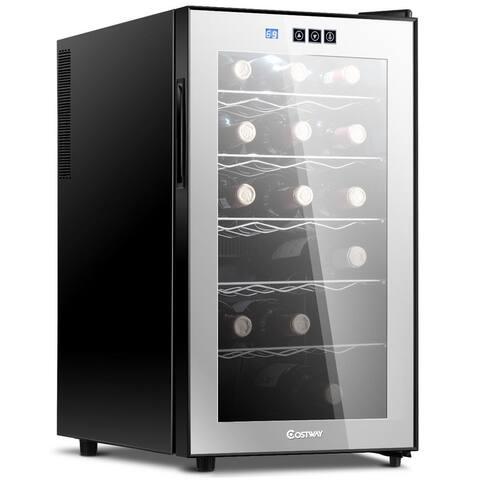 Costway 18 Bottle Thermoelectric Wine Cooler Freestanding Temperature Display Glass Door - Black