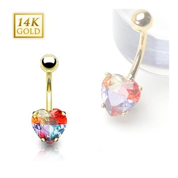 14 Karat Solid Yellow Gold  Multi-Colored Heart Prong-Set Miracle Gem Navel Belly Button Ring