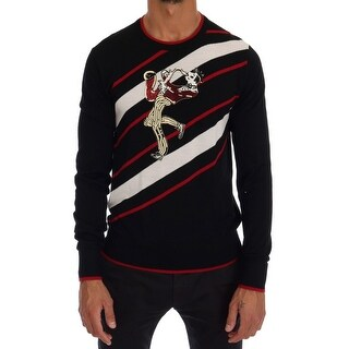Dolce & Gabbana Black Wool Sequined Red White Striped Sweater