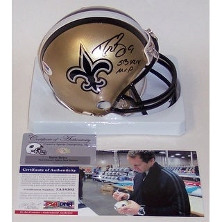 Drew Brees Autographed Hand Saints Mini Helmet PSADNA