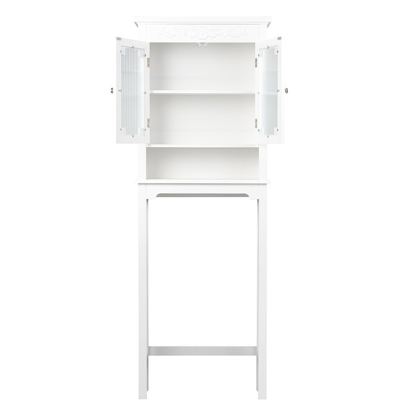 Adjustable Toilet Rack Bathroom Space Saver Carved Top Organization for Home