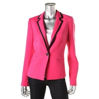 Anne Klein Womens Notch Collar Contrast Trim Blazer - 4