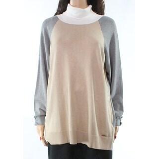 Calvin Klein NEW Beige Women's Size XL Colorblock Turtleneck Sweater