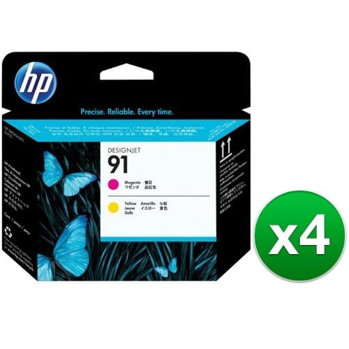 HP 91 Magenta & Yellow DesignJet Printhead (C9461A) (4-Pack)